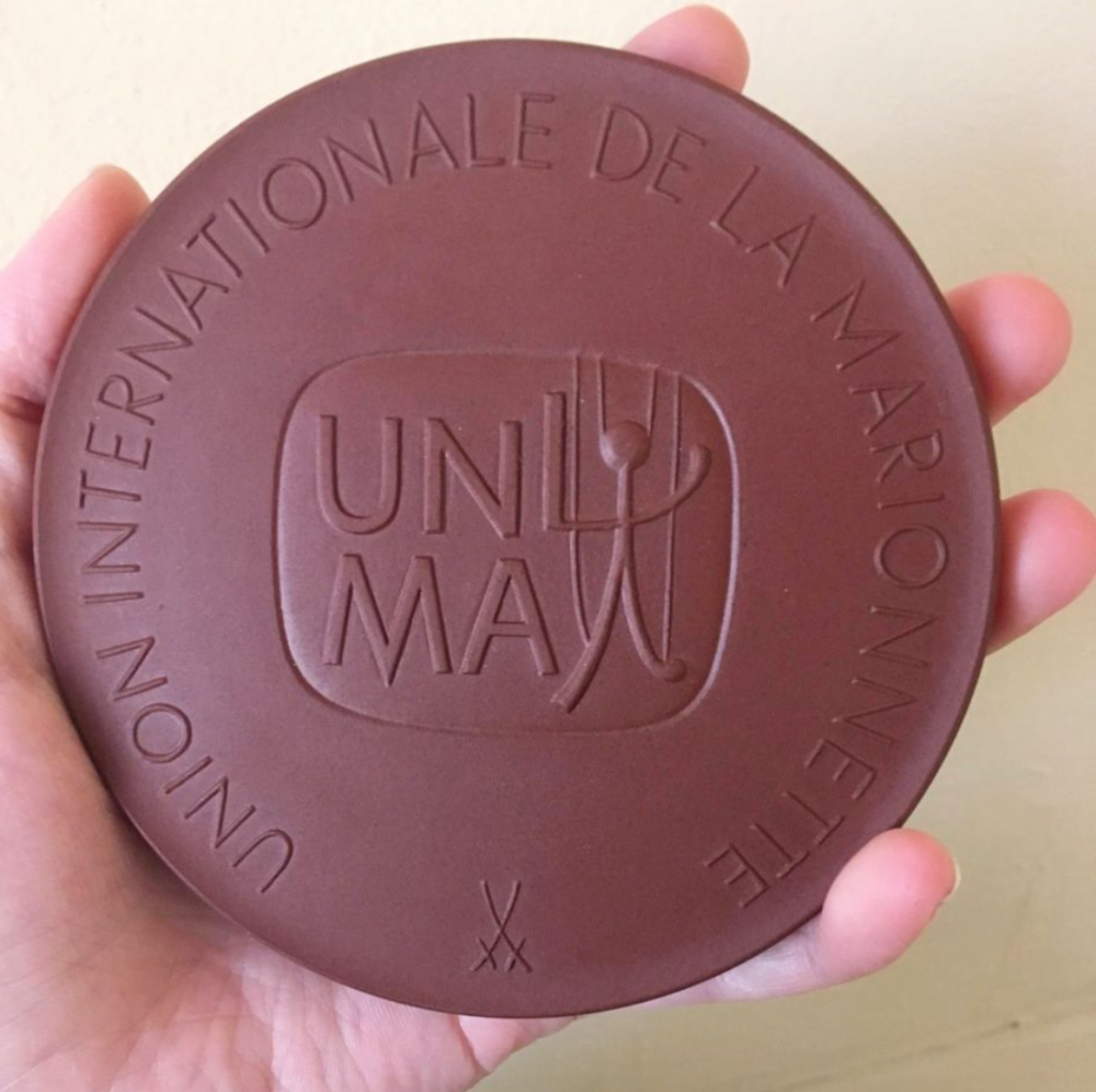 UNIMA International Medal presented to Axel Axelrad as a member of honour.